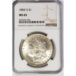 1884-O Morgan Silver Dollar $ NGC MS 65