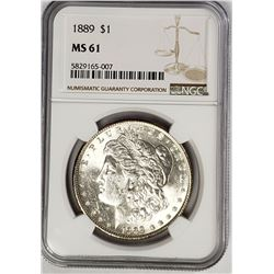 1889-P Morgan Silver Dollar $1 NGC MS61