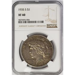 1935-S Peace Dollar $1 NGC XF40
