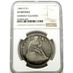 1860-O SEATED LIBERTY DOLLAR NGC VF DETAILS