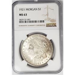 1921-P Morgan Silver Dollar $1 NGC MS63