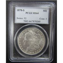 1878-S MORGAN SILVER $ PCGS MS64