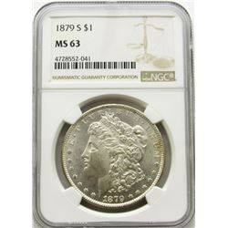 1879-S MORGAN SILVER DOLLAR NGC MS 63