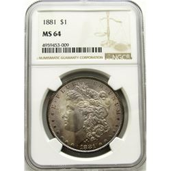 1881-P Morgan Silver Dollar $ NGC MS 64 Beautiful