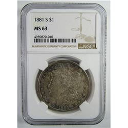 1881-S Morgan Silver Dollar $ NGC MS 63 Nicely Ton