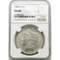 1885-O Morgan Silver Dollar $ NGC MS 60 Blast Whit