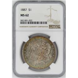 1887 NGC MS62 MORGAN SILVER DOLLAR