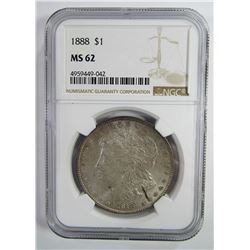 1888-P Morgan Silver Dollar $ NGC MS 62 Lightly To