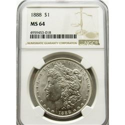1888-P Morgan Silver Dollar $ NGC MS 64