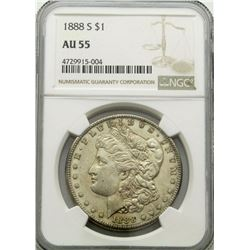1888-S MORGAN DOLLAR NGC AU55