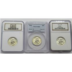 3 Grade Washington Quarters NGC, PCGS