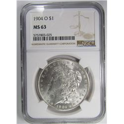 1904-O MORGAN SILVER DOLLAR NGC MS63