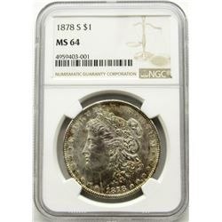 1878-S Morgan Silver Dollar $ NGC MS 64 Nicely Ton