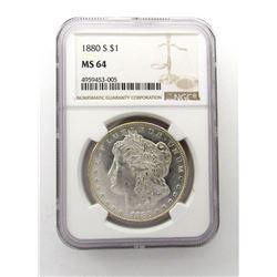 1880-S Morgan Silver Dollar $ NGC MS 64