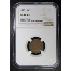 1872 INDIAN CENT NGC XF40 BN