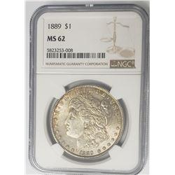 1889-P $1 Morgan Silver Dollar NGC MS62
