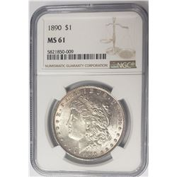 1890-P $1 Morgan Silver Dollar NGC MS61