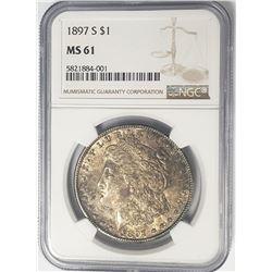 1897-S Morgan Silver Dollar $1 NGC MS61