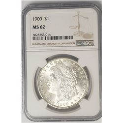 1900-P $1 Morgan Silver Dollar NGC MS62