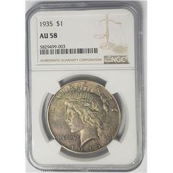 1935-P Peace Dollar $1 NGC AU58