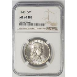 1948-P Franklin Half Dollar 50C NGC MS64 FBL