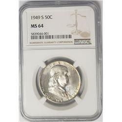 1949-S 50C Franklin Half Dollar NGC MS64 Light Ton