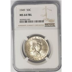1949 50C Franklin Half Dollar NGC MS64 FBL