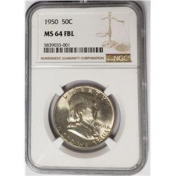 1950 50C Franklin Half Dollar NGC MS64 FBL