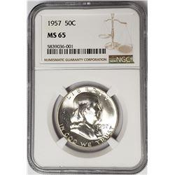 1957 50C Franklin Half Dollar NGC MS65