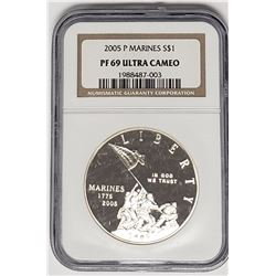 2005 P MARINES PROOF SILVER DOLLAR