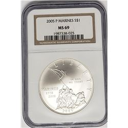 2005 P MARINES SILVER DOLLAR NGC MS69