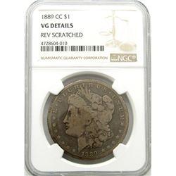 1889-CC MORGAN SILVER DOLLAR NGC VG DETAILS