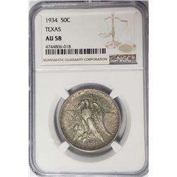 1934 Texas Commemorative Half Dollar NGC AU58