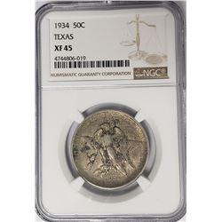 1934 Texas Commemorative Half Dollar NGC XF45
