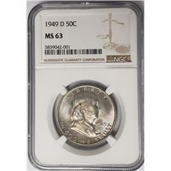 1949-D 50C Franklin Half Dollar NGC MS63