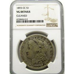 1893-CC MORGAN SILVER DOLLAR NGC VG DETAILS