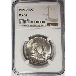 1949-D 50C Franklin Half Dollar NGC MS64
