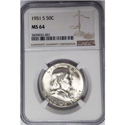 1951-S 50C Franklin Half Dollar NGC MS64