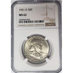 1951-D 50C Franklin Half Dollar NGC MS62