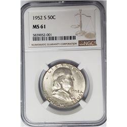 1952-S 50C Franklin Half Dollar NGC MS61