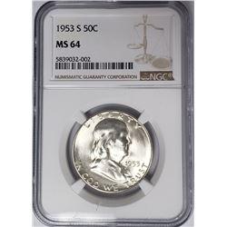 1953-S 50C Franklin Half Dollar NGC MS64