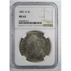 1881-O Morgan Silver Dollar $ NGC MS 62