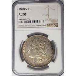 1878-S $1 Morgan Silver Dollar NGC AU53
