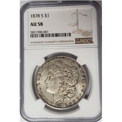 1878-S Morgan Silver Dollar $1 NGC AU58