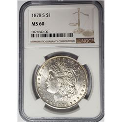 1878-S $1 Morgan Silver Dollar NGC MS60