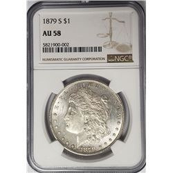1879-S Morgan Silver Dollar $1 NGC AU58