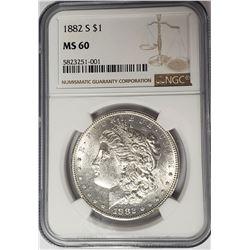1882-S Morgan Silver Dollar $1 NGC MS60