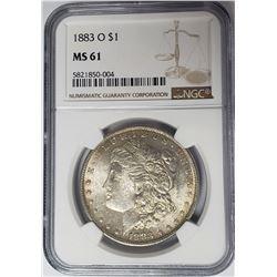 1883-O $1 Morgan Silver Dollar NGC MS61