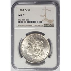 1884-O $1 Morgan Silver Dollar NGC MS61
