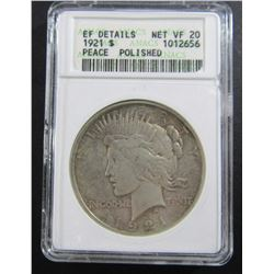 1921 PEACE SILVER $ ANACS NET VF20 DETAILS